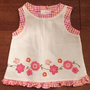 GOODLAD Top White & Pink Floral Embroidery Sz 2T
